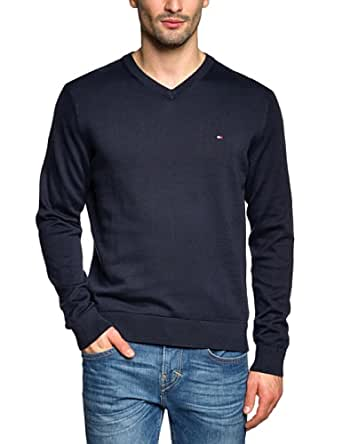 Tommy Hilfiger - Pacific - Pull - Uni - Col V - Manches longues - Homme - Bleu - S