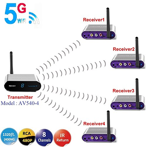 MEASY AV540-4 (1x4) 5.8GHz Wireless AV Transmitter and Receiver up tp 400M with IR Extender for Controlling The DVD / Set-Top Box from Another Room to Watch Digital / Satellite TV