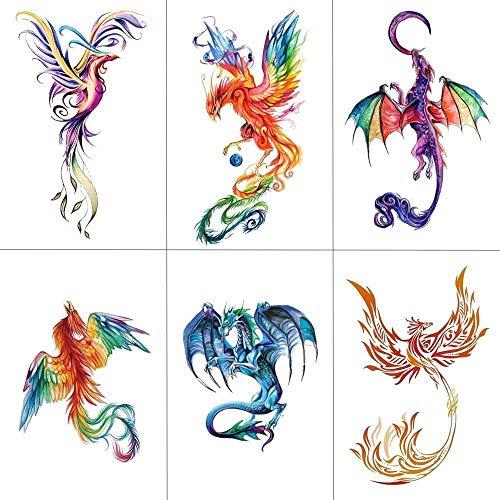 Temporäre Tattoo-Aufkleber Buntes Aquarell Phoenix Dragon Temporäre Tattoos Für Kinder Frauen Hand Tatoo Sticker Art (Phoenix Kostüm Frauen)