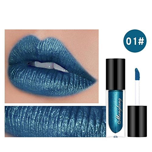 Waterproof Long Lasting Lipstick Anglewolf Liquid Velvet Matte Makeup Lip Stage Makeup Bridal Gloss Lip Party Prom Lip Glaze Lipliner Lip Pencil Lip Gloss (Metallic blue)