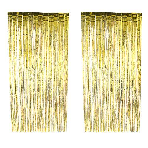 VORCOOL 4 stücke Folie Vorhänge Metallic Fringe Vorhänge Schimmer Streamers für Party Dekoration-1x2,5 mt (Golden)