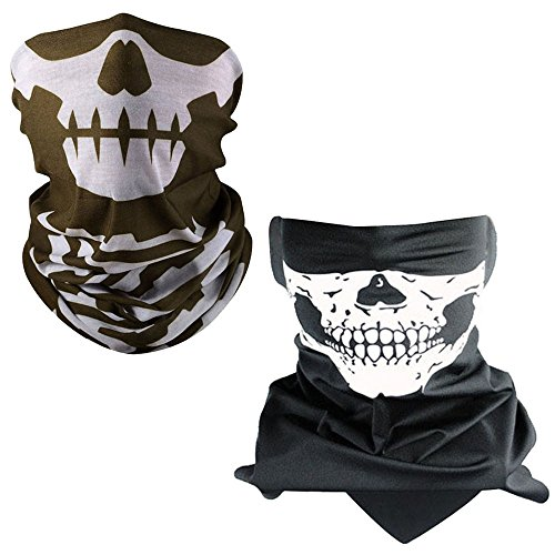 Lmeno Windproof Stretchable Skull Face Mask Neck Warmer scarf Ski Headwear Tubular Half Face Cover Magic Headband Veil for Motor Cycling Riding Climbing Snowboard Winter Sports Outdoor Activitie (Brow