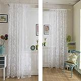 Kinlo®Vorhang blickdicht schals pflegeleicht aus Beflockung Peony 1 Stücke gardine für Wohnzimmer in weiß