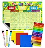 Magnetic Reward Chart, Magnetic Chore Chart Good Behaviour Charts for Children with 3 Dry Wipe Marker Pens and Hanging Loop, Magnetic Star Reward Chart 40 x 30 cm