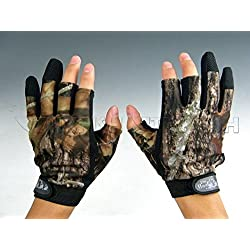 pesca caza selva 3 dedo camuflaje Camo Guantes de Pesca Fishing Gloves