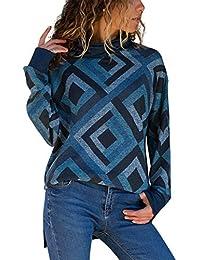 Sweat Col Roulé Femme Boheme Hippie Pull Geometrique Haut a la Mode Ado  Fille Tunique Automne f6981b9cbdd