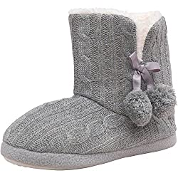 firetrap womens girls cable knit winter cosy slippers boots - 51rJfApf2qL - Firetrap Womens Girls Cable Knit Winter Cosy Slippers Boots
