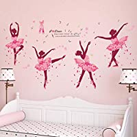iwallsticker DIY Creative Dancing Girl Wall Stickers for Bedroom Living Room Bathroom Home Decoration Study Room Nursery School