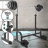 Physionics® Stabile Supporto per Pesi - con Un Carico Massimo di 150 kg - Dimensioni: 178/110/100 cm - Peso: 19,65 kg, Colore: Nero