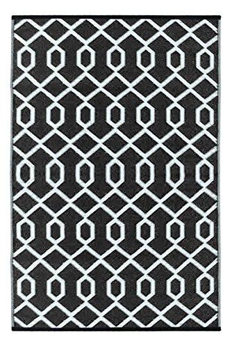 Green Decore Grün Deko-wendbar-leicht Kunststoff Teppich Valencia schwarz \ weiß, 4X 6FT (120x 180cm), schwarz/weiß (4 6 Schwarz-teppiche, X)