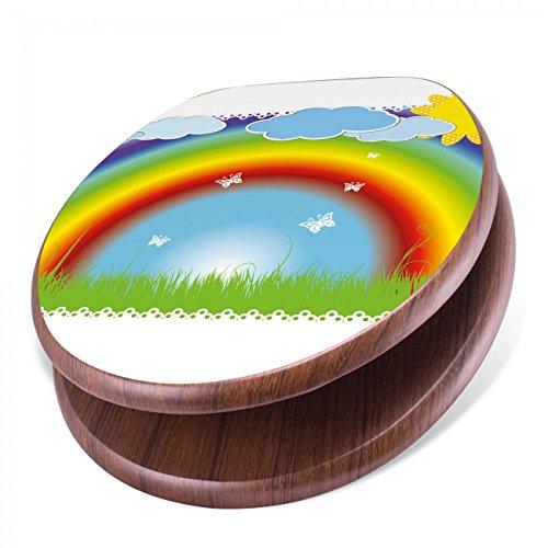 BANJADO Design Toilettensitz mit Absenkautomatik, WC-Sitz Holz, Klodeckel mit Metall Scharnieren, Toilettendeckel mit Motiv Regenbogen