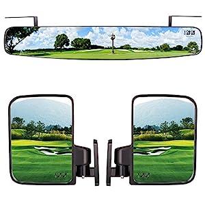 10 l 0L Faltbare Seitenspiegel und Rückspiegel 41,9 cm extra breiter Panorama-Golf Cart Spiegel passend für Club Car EZGO Yamaha Combo Pack