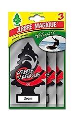 Idea Regalo - Arbre Magique Tris, Deodorante Auto, Fragranza Sport, Profumazione Prolungata fino a 7 Settimane, Confezione Tripla