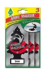 Idea Regalo - Arbre Magique 102710 Deodorante Auto, Profumo Tris Sport, Nero/Bianco/Rosso, Set di 3