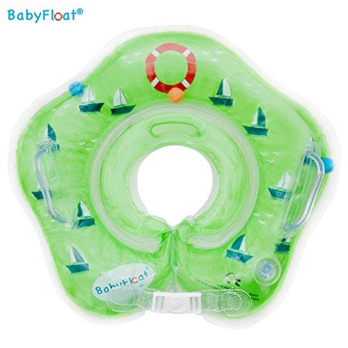 BabyFloat ® Schwimmring Hals Neck - verstellbar aufblasbar Kinder Hals für 0-24 Monate Baby (Grün - Sailboat)