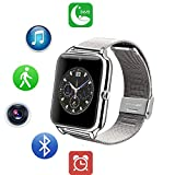 ZEERKEER Android SmartWatch Smart Watch Bluetooth Fitness Watch Fitness Tracker con Tarjeta SIM/TF Totalmente metálico Acero Inoxidable Podómetro Reloj Teléfono Tocar Cámara Mensajes Alertas
