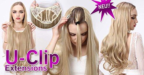 U di clip extension, estensione dei capelli, 55cm, rosso biondo–luce biondo