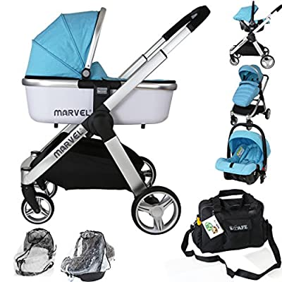 Marvel 3in1 Pram - Surf Blue (+Car Seat + Carrycot + Bag +X2 Rain Covers)  Maclaren UK Baby