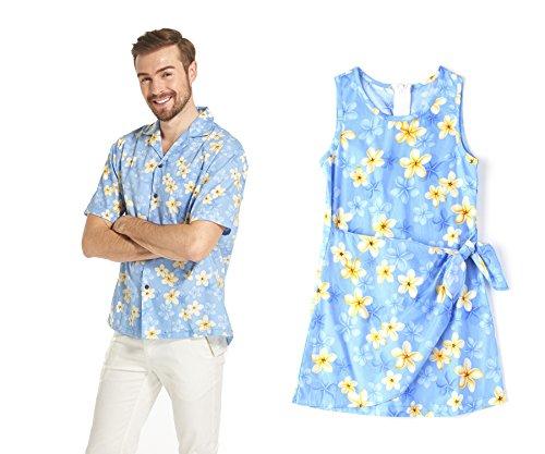 Hecho-en-Hawai-Conjunto-de-hija-de-padre-vestido-Luau-Aloha-Vestido-de-nia-en-bonito-Plumeria-azul-S-8