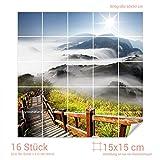 Graz Design 765335_15x15_60 Fliesenaufkleber Berge - Landschaft für Kacheln | Wand-Deko für Bad/Küchen-Fliesen (Fliesenmaß: 15x15cm (BxH)//Bild: 60x60cm (BxH))