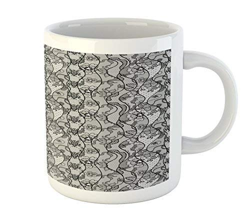 Floral Mug Lace Gothic Pattern with Flower Effect and Leaves Ornamental Antique Feminine Design Printed Ceramic Coffee Mug Water Tea Drinks Cup - Antique Lace Top