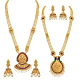 Best Necklace Set Of 2 - Asmitta Delightly Long Haram Gold Plated Opera Style Review
