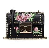 Bolsos bandolera de Mujer, Holacha Crossbody Bolsas de hombro bordado de flores con remache de cuero (negro)