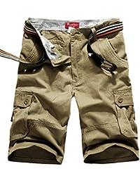 Kasen Hombres Pantalones Cortos Color Sólido Suelto Leisure Bermuda Cargos Shorts