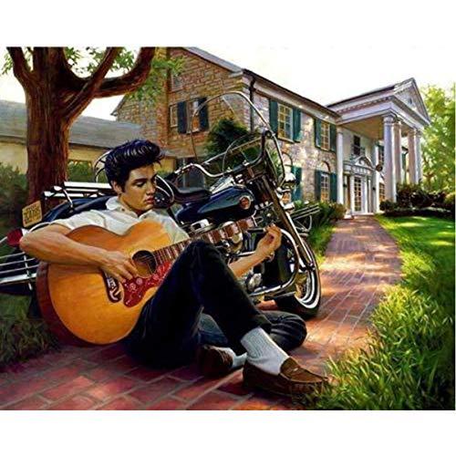 Leezeshaw 5D DIY Diamant Malen nach Zahlen Kits berühmte Strass-Stickerei Gemälde Bilder für Home Decor - Elvis Presley (40 x 30 cm) Frameless Elvis Presley-6 -