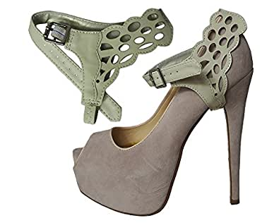 Detachable Shoe Straps ShooStraps - To hold loose high heeled shoes, wedges and flats (Artistic Beige)
