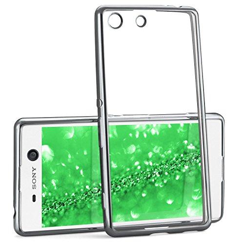Chrome Case für Sony Xperia M5 | Transparente Silikon Hülle mit Metallic Effekt | Dünne Handy Schutz Tasche von OneFlow | Back Cover in Silber