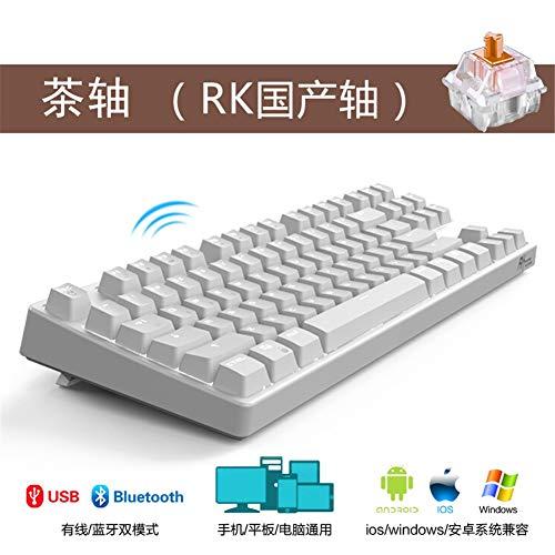 LCRGMPC1 Rk987 Drahtlose Bluetooth Mechanische Tastatur Spiel USB Kabel Notebook Computer Ergonomie Weiß Weiß Licht Tee Welle Doppel Modus -