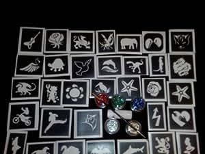 50 pochoir de tatouage pour les tatouages paillettes / art corporel + 5 paillettes couleurs aérographe