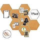 Alumuk Kork Pinnwand Korkwand 7 Stück selbstklebend, Pinboard Korkwand Tafel, Korktafel Korkplatte Memo Wand inkl. 30 Pins, ideal für Küche und Büro - 20 x 17 x 0,6cm
