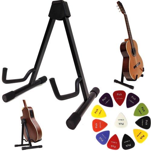 Stativ Ständer A-Form für Akustik Gitarren u Saiteninstrumente XP-HIGH-TECH mit verstellbarem System + 12 Plektrons Gratis!