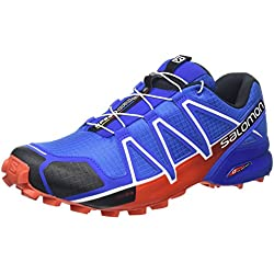 Salomon Zapatillas Speedcross 4 DE Trail Running Para Hombre, Sintético/Textil, Azul (Blue Yonder/Black/Lasa Orange), 43.3333333333333