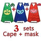 ygql PJ máscaras disfraces para niños juego de 3Catboy Owlette Gekko máscara con - Best Reviews Guide