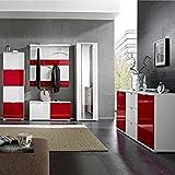 Garderoben Set RAINYBOW131 Hochglanz weiß, rot