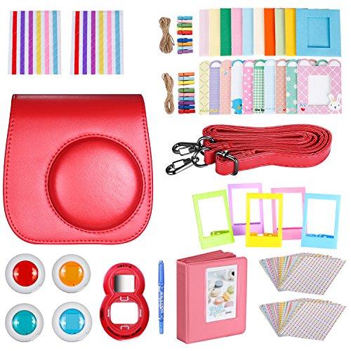 Neewer 10-en-1 Kit d'Accessoires Rouge pour Fujifilm Instax Mini 9 8+ 8 8s: Housse de Caméra/ Album/ Objectif de Selfie / 4x Filtre de Couleur/ 5x Cad...