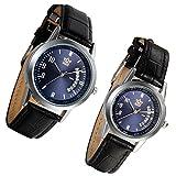 Lancardo ein paar Damen Herren Paar Armbanduhren, Einfach Freundschafts Kalender analog Quarz Uhr, mit Digital Blau Zifferblatt partneruhren, Leder Legierung, schwarz