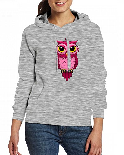 Pink OWL Womens Hoodie Fleece Custom Sweartshirts Grey