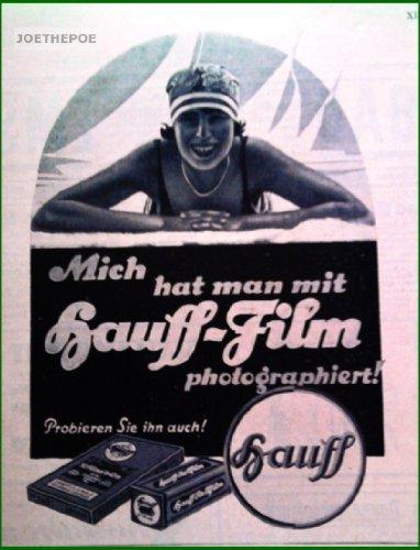 20er Jahre - Inserat / Anzeige: HAUFF PHOTO-PLATTEN / BADENDE FRAU - Grösse : ca. 180 x 210 Millimeter - alte Werbung / Originalwerbung/ Printwerbung / Anzeigenwerbung / Advertisement (Anzeigen-platten)