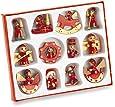 12 tradizionale in legno albero di Natale Decorazioni - Cavallo a dondolo, Drum Giocattoli, angelo