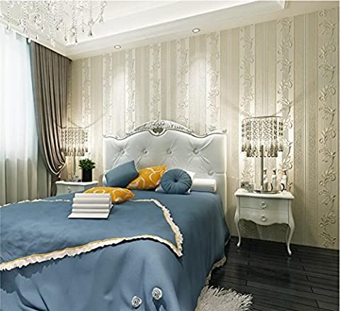 Simple European-style 3D three-dimensional precision non-woven vertical stripe wallpaper living