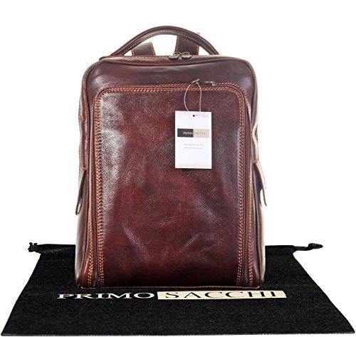 Lusso in pelle italiana Gentlemans classico stile zaino zaino borsa portadocumenti Tracolla.Fornita nella pratica custodia protettiva marca Mid Brown