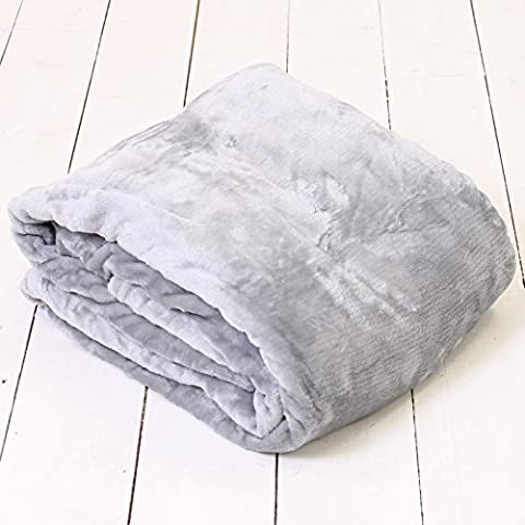 200 x 240 Grey Silver Soft Supreme Silky Plush Mink Faux Fur Throw Fleece Blanket