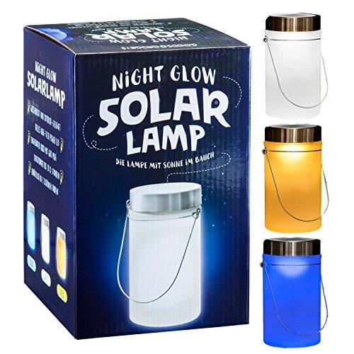 LED Solarlampe - Die Sonnen-Lampe Deko Sun Jar Solar-Laterne im Einmachglas mit Bügel; Gelb Licht