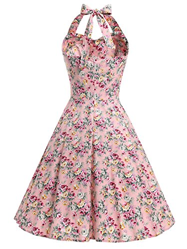 MicBridal® 1950er Vintage Blumen Sommer Neckholder Retro Schwingen Pinup Rockabilly Kleid Ballkleider Pink
