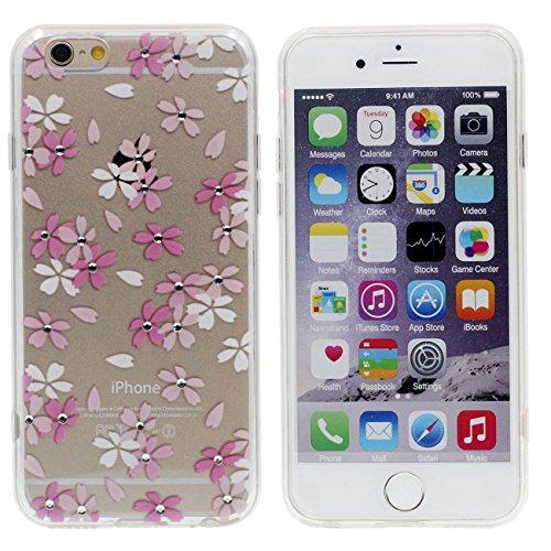 Apple iPhone 6 6S 4.7 inch Coque Housse de protection Case, Très Mince Poids Léger Transparent Flexible TPU Bling Bling Cristal Faux Diamant Serie - Beau Rose Fleur color-2