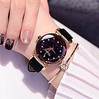 ZZ Reloj de Cuarzo con Diseño de Diamantes de Imitación para Mujer,Negro estrellad